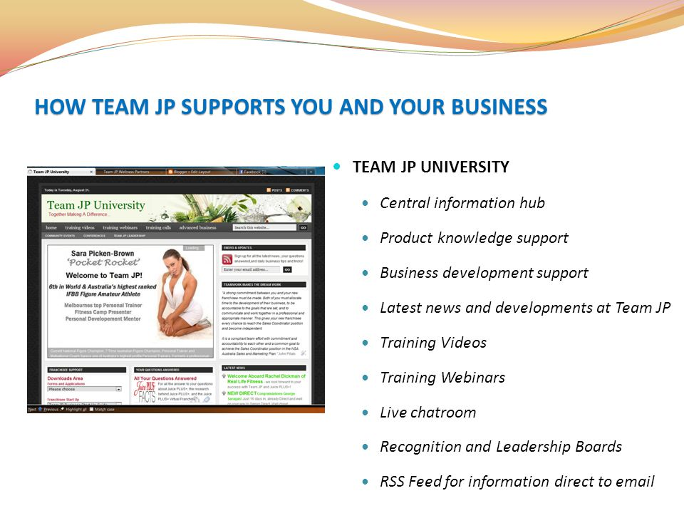 TEAM JP UNIVERSITY Central information hub Product knowledge support Business development support Latest news and developments at Team JP Training Vid