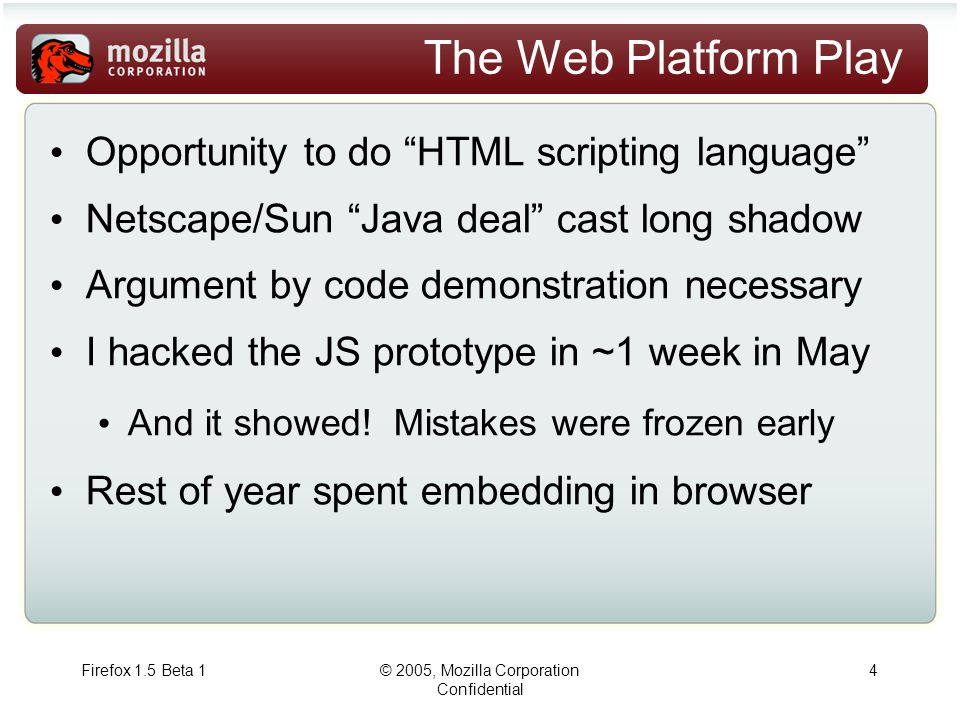 Firefox 1.5 Beta 1© 2005, Mozilla Corporation Confidential 4 The Web Platform Play Opportunity to do HTML scripting language Netscape/Sun Java deal cast long shadow Argument by code demonstration necessary I hacked the JS prototype in ~1 week in May And it showed.
