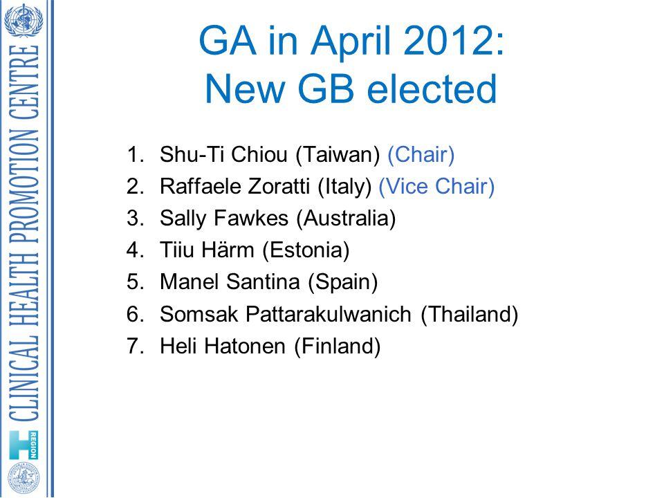 GA in April 2012: New GB elected 1.Shu-Ti Chiou (Taiwan) (Chair) 2.Raffaele Zoratti (Italy) (Vice Chair) 3.Sally Fawkes (Australia) 4.Tiiu Härm (Estonia) 5.Manel Santina (Spain) 6.Somsak Pattarakulwanich (Thailand) 7.Heli Hatonen (Finland)