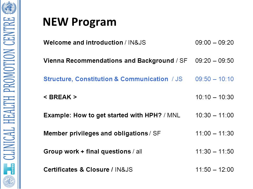 NEW Program Welcome and introduction / IN&JS09:00 – 09:20 Vienna Recommendations and Background / SF09:20 – 09:50 Structure, Constitution & Communication / JS09:50 – 10:10 10:10 – 10:30 Example: How to get started with HPH.
