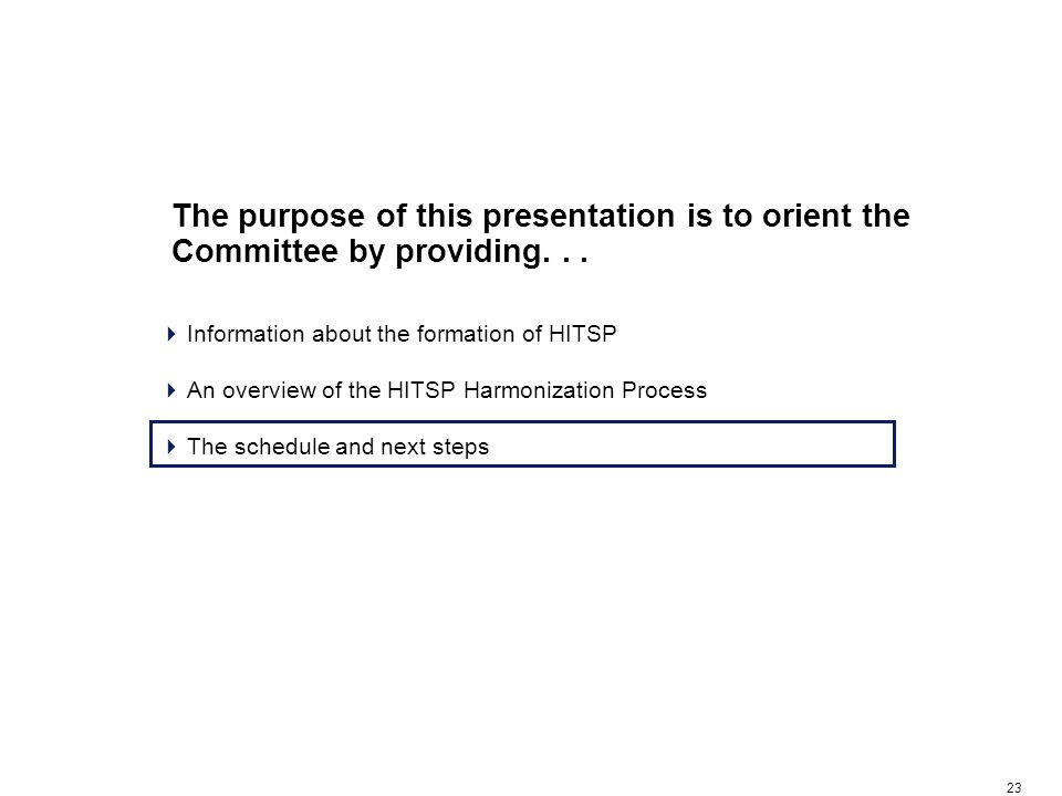 23 The purpose of this presentation is to orient the Committee by providing...  Information about the formation of HITSP  An overview of the HITSP H