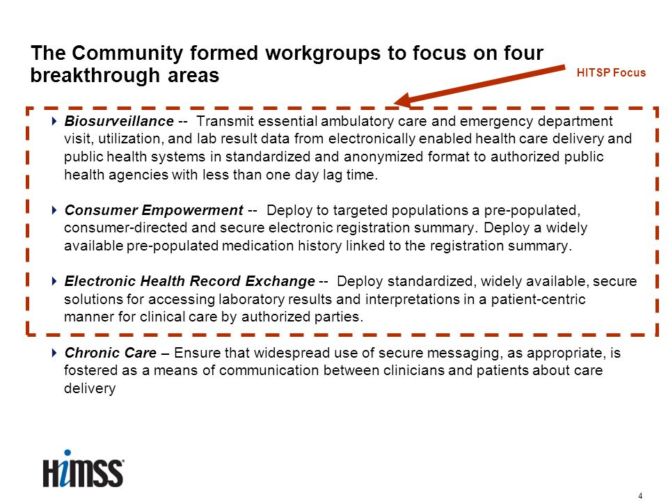 4 The Community formed workgroups to focus on four breakthrough areas  Biosurveillance -- Transmit essential ambulatory care and emergency department