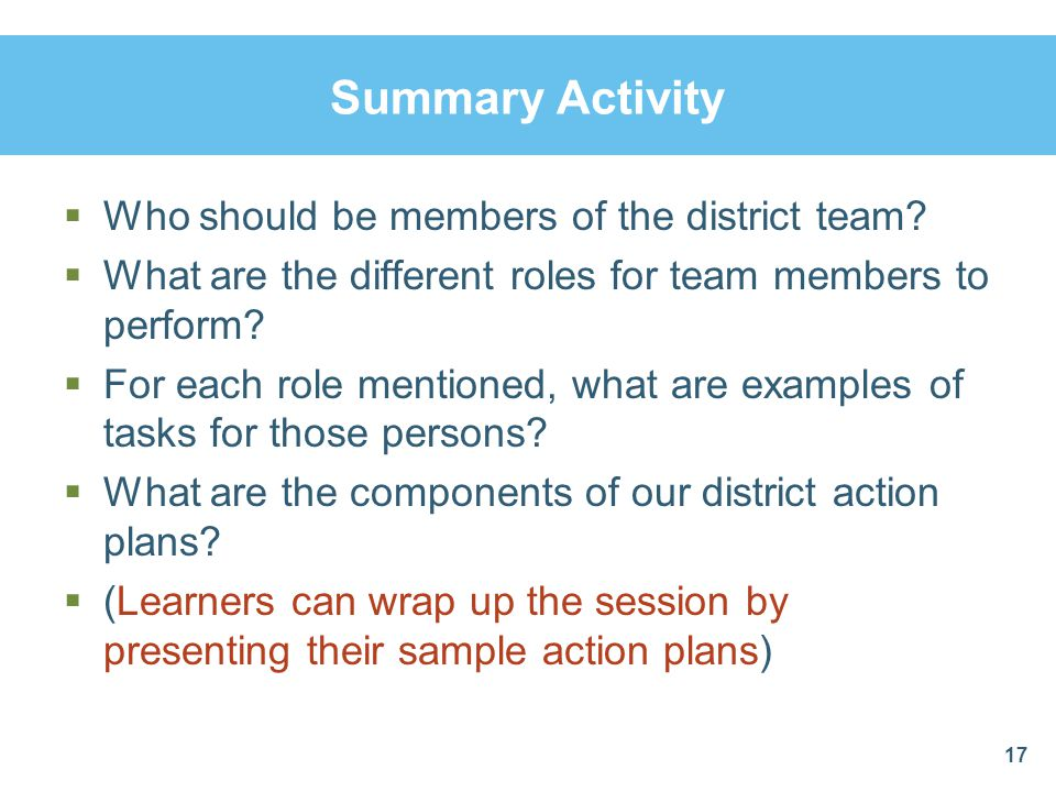 Summary Activity  Who should be members of the district team.