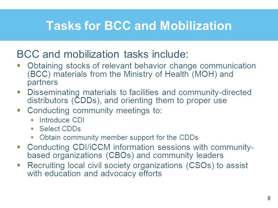 Suggest Other Tasks for BCC, Mobilization 9