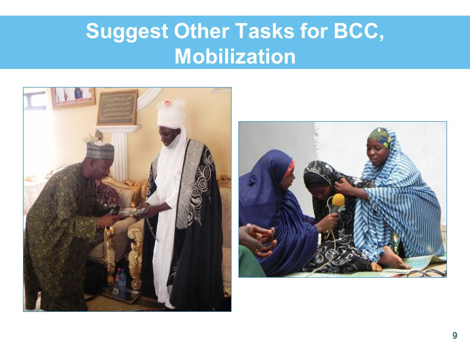 Suggest Other Tasks for BCC, Mobilization 9