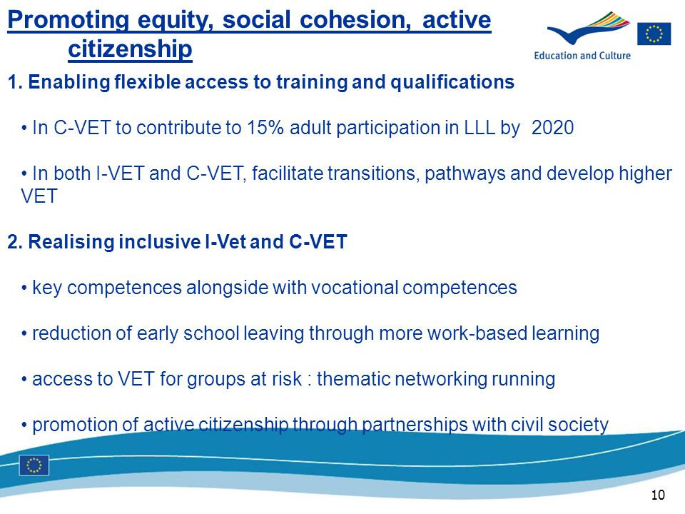 10 Promoting equity, social cohesion, active citizenship 1.
