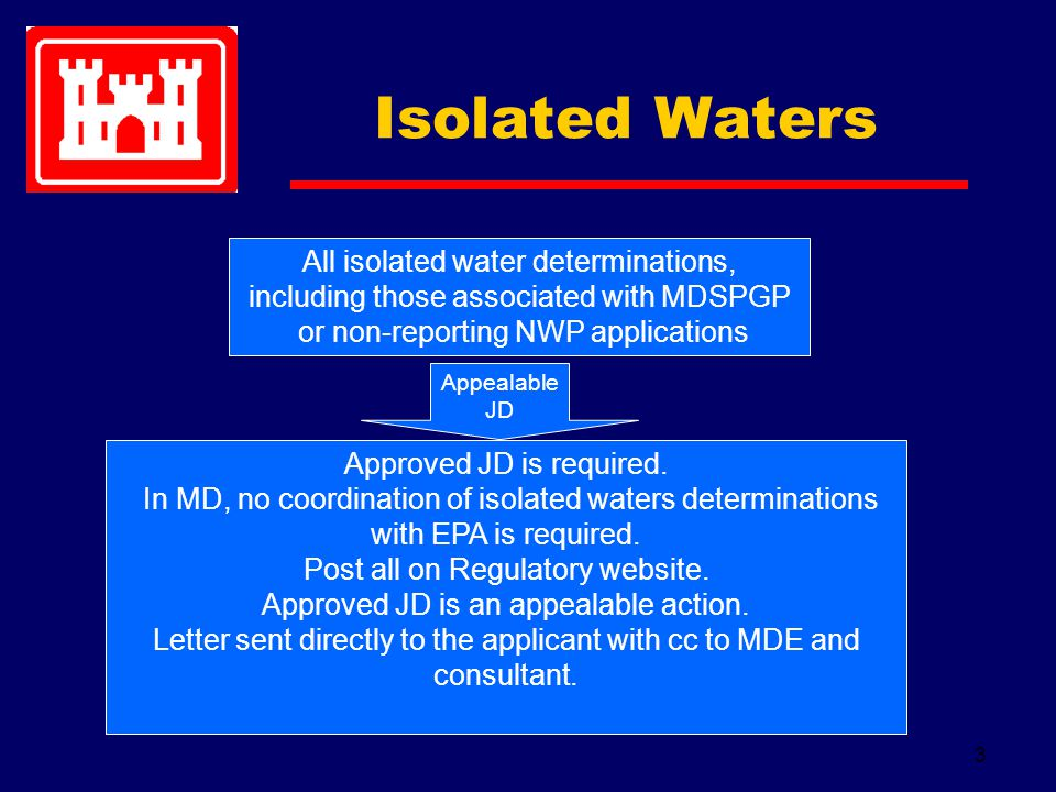 3 All isolated water determinations, including those associated with MDSPGP or non-reporting NWP applications Appealable JD Approved JD is required.