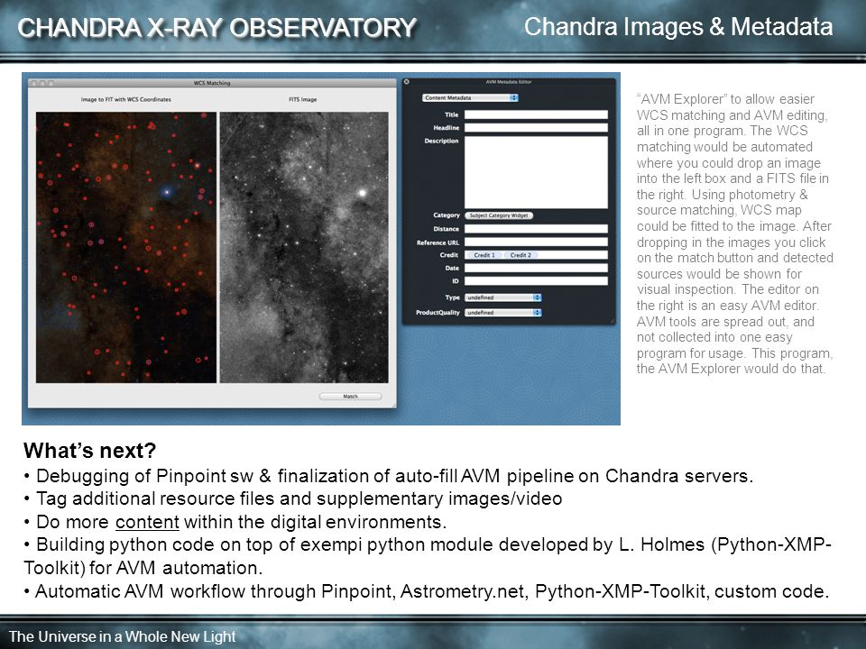 CHANDRA X-RAY OBSERVATORY The Universe in a Whole New Light What's next.