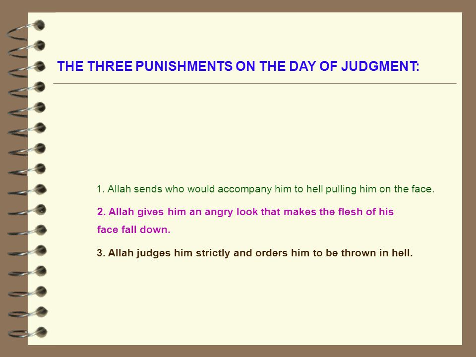 THE THREE PUNISHMENTS ON THE DAY OF JUDGMENT: 2.
