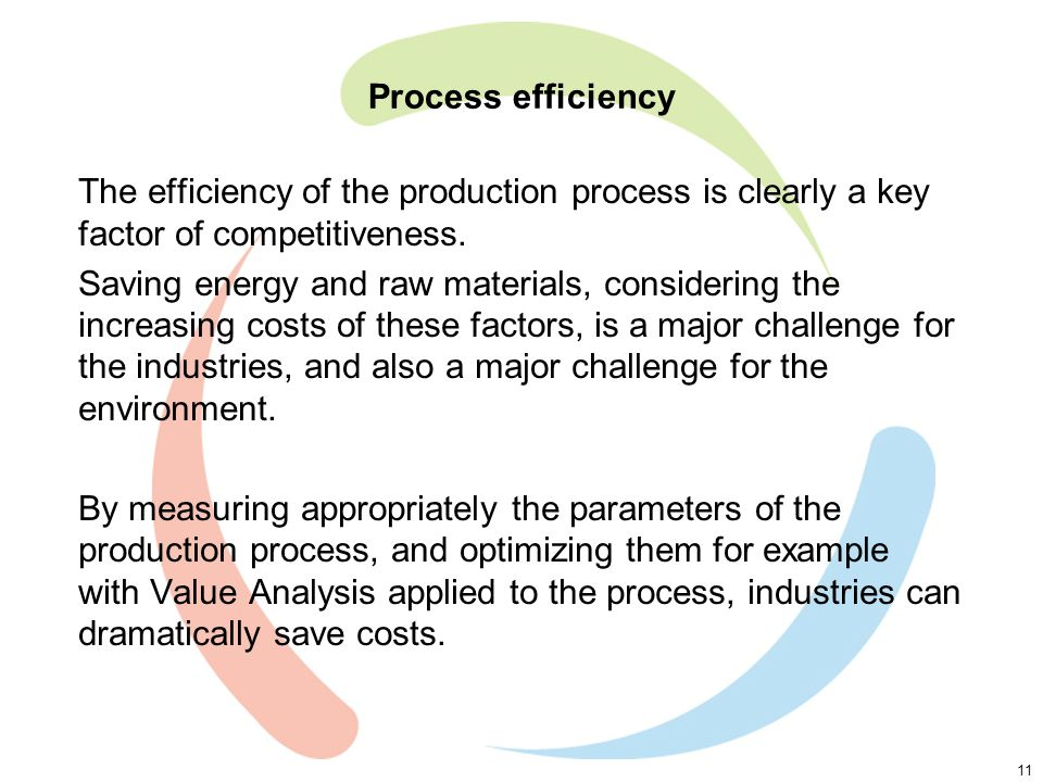 11 Process efficiency The efficiency of the production process is clearly a key factor of competitiveness.
