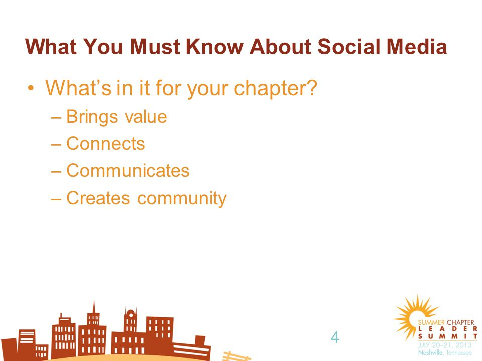 4 What You Must Know About Social Media What's in it for your chapter.