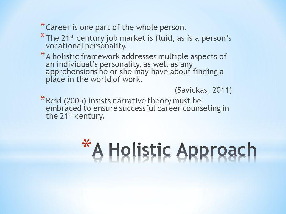* Career is one part of the whole person. * The 21 st century job market is fluid, as is a person's vocational personality. * A holistic framework add