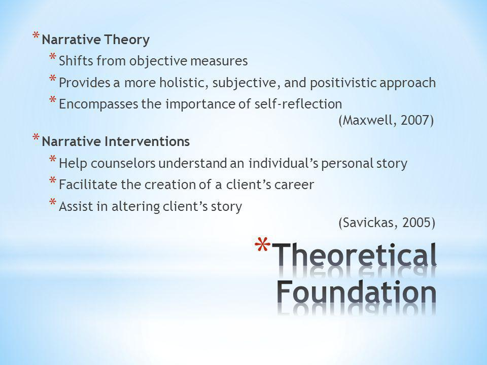 * Narrative Theory * Shifts from objective measures * Provides a more holistic, subjective, and positivistic approach * Encompasses the importance of