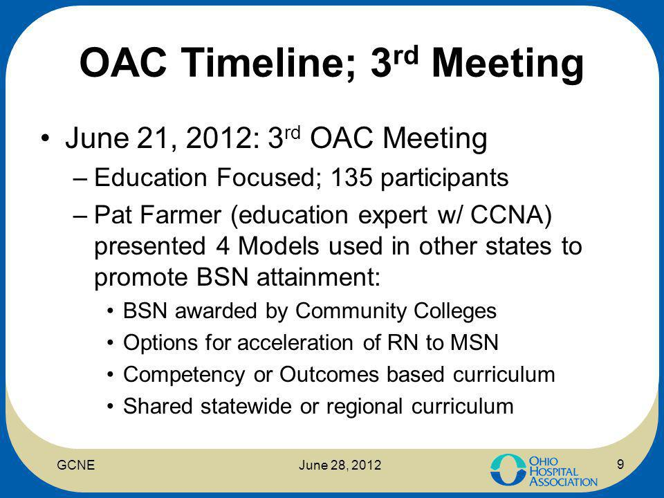 OAC Timeline; 3 rd Meeting June 21, 2012: 3 rd OAC Meeting –Education Focused; 135 participants –Pat Farmer (education expert w/ CCNA) presented 4 Models used in other states to promote BSN attainment: BSN awarded by Community Colleges Options for acceleration of RN to MSN Competency or Outcomes based curriculum Shared statewide or regional curriculum 9 GCNEJune 28, 2012