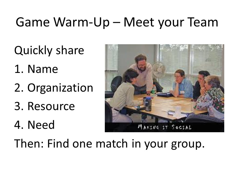 Game Warm-Up – Meet your Team Quickly share 1.Name 2.Organization 3.Resource 4.Need Then: Find one match in your group.