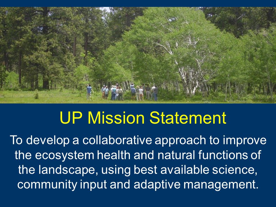 UP Mission Statement To develop a collaborative approach to improve the ecosystem health and natural functions of the landscape, using best available science, community input and adaptive management.