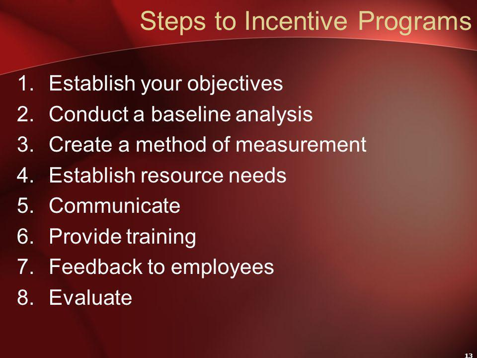 13 Steps to Incentive Programs 1.Establish your objectives 2.Conduct a baseline analysis 3.Create a method of measurement 4.Establish resource needs 5.Communicate 6.Provide training 7.Feedback to employees 8.Evaluate