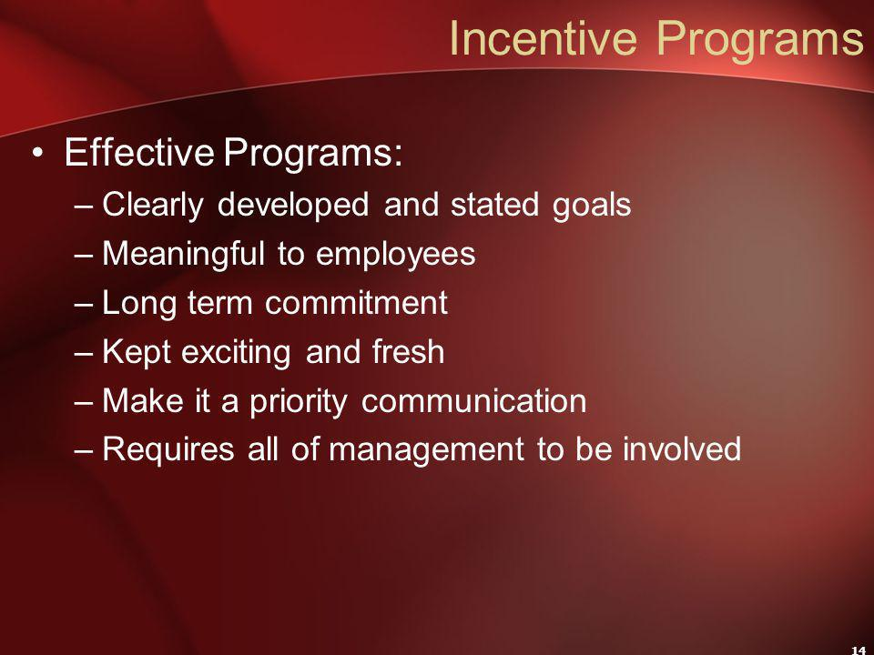 14 Incentive Programs Effective Programs: –Clearly developed and stated goals –Meaningful to employees –Long term commitment –Kept exciting and fresh –Make it a priority communication –Requires all of management to be involved