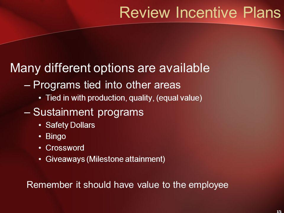 15 Review Incentive Plans Many different options are available –Programs tied into other areas Tied in with production, quality, (equal value) –Sustainment programs Safety Dollars Bingo Crossword Giveaways (Milestone attainment) Remember it should have value to the employee