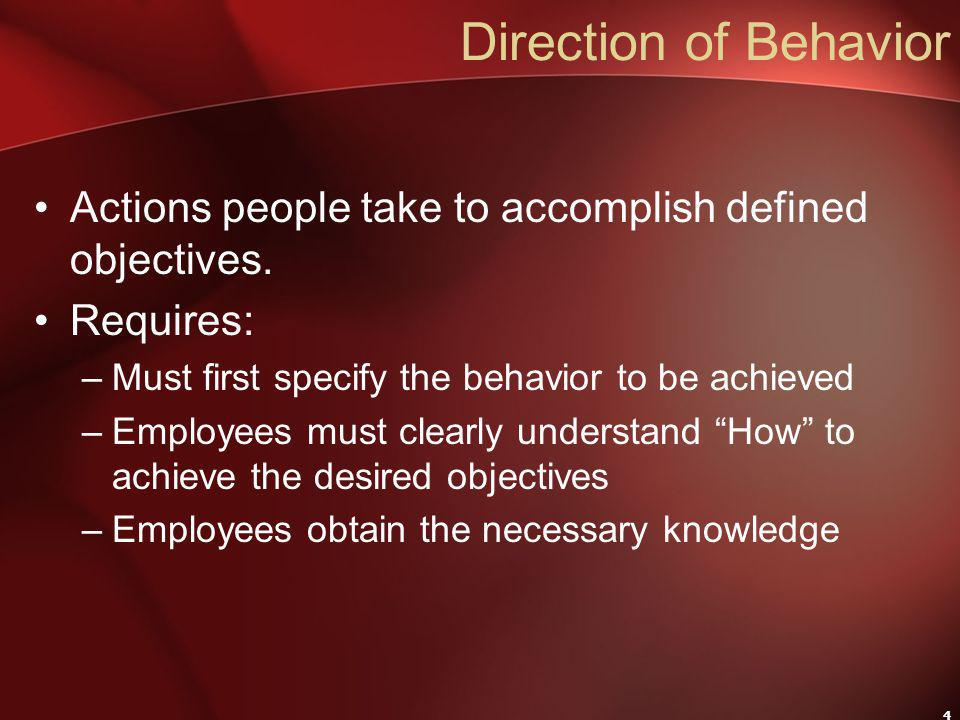 4 Direction of Behavior Actions people take to accomplish defined objectives.