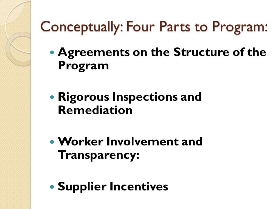 AGREEMENTS ON THE STRUCTURE OF THE PROGRAM