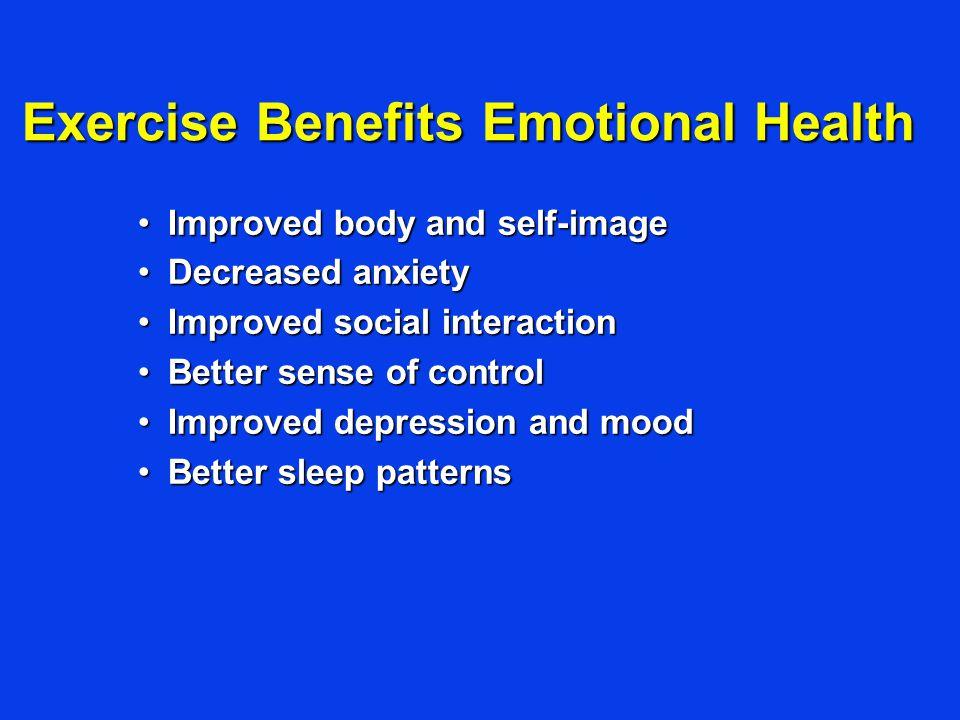 Exercise Benefits Emotional Health Improved body and self-imageImproved body and self-image Decreased anxietyDecreased anxiety Improved social interac