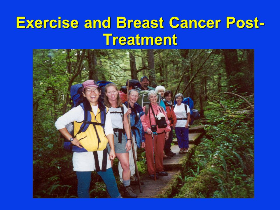 Exercise and Survival After Breast Cancer Diagnosis Holmes MD et al, JAMA 2005 Prospective observational studyProspective observational study –2987 nurses in the U.S.