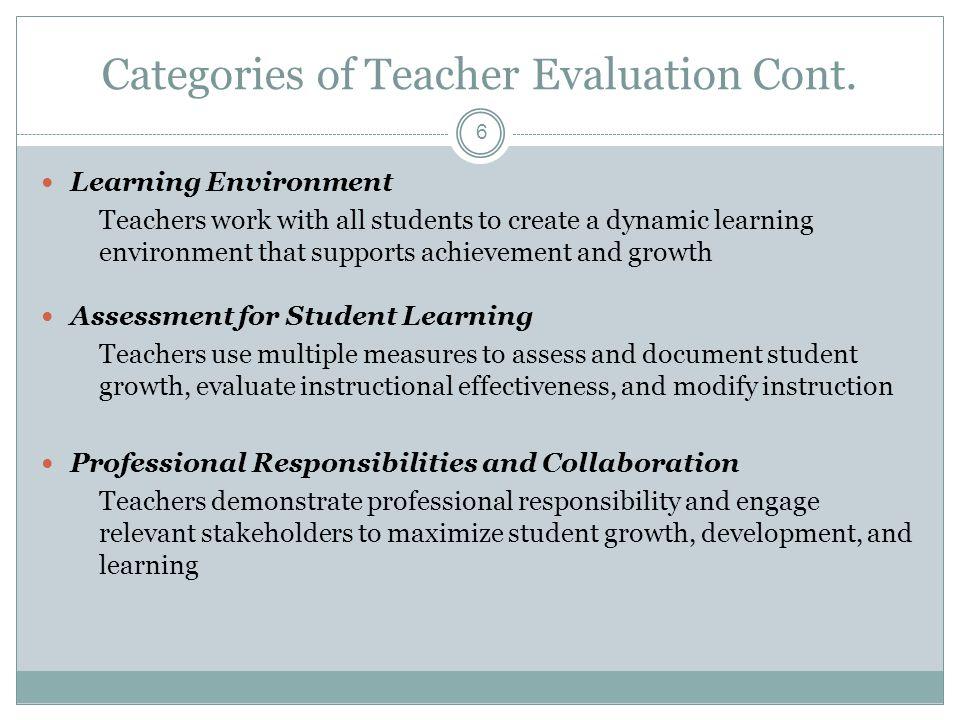 Categories of Teacher Evaluation Cont.