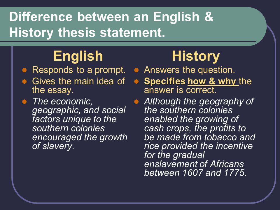 Difference between an English & History thesis statement. English Responds to a prompt. Gives the main idea of the essay. The economic, geographic, an