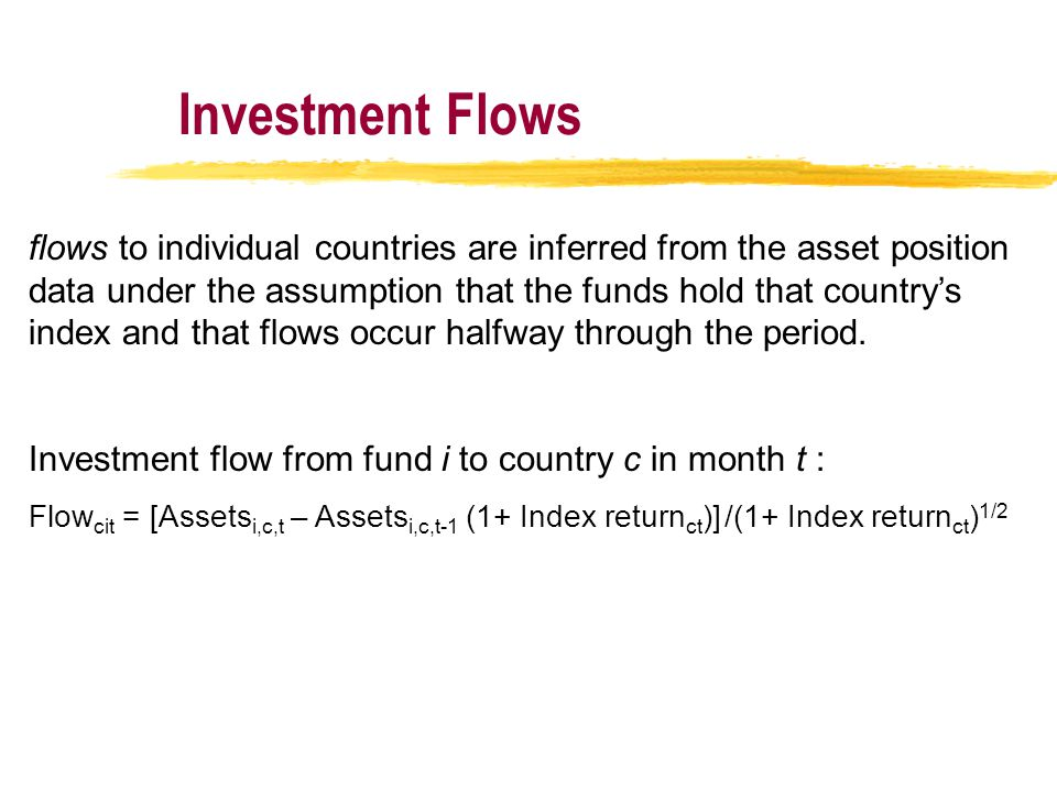 Investment Flows flows to individual countries are inferred from the asset position data under the assumption that the funds hold that country's index and that flows occur halfway through the period.
