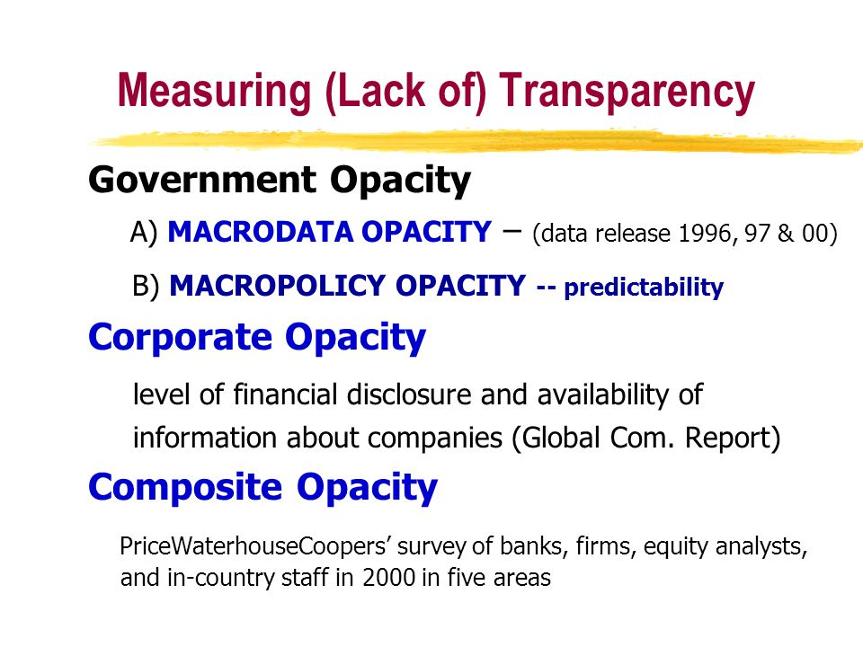 Measuring (Lack of) Transparency Government Opacity A) MACRODATA OPACITY – (data release 1996, 97 & 00) B) MACROPOLICY OPACITY -- predictability Corporate Opacity level of financial disclosure and availability of information about companies (Global Com.