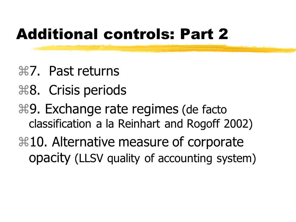 Additional controls: Part 2 z7. Past returns z8. Crisis periods z9.