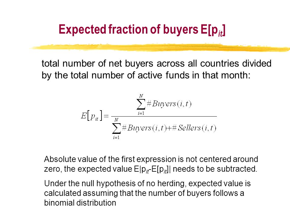 total number of net buyers across all countries divided by the total number of active funds in that month: Absolute value of the first expression is not centered around zero, the expected value E|p it -E[p it ]| needs to be subtracted.