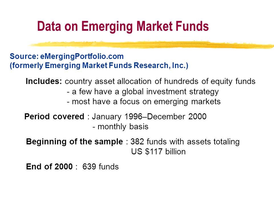 Data on Emerging Market Funds Source: eMergingPortfolio.com (formerly Emerging Market Funds Research, Inc.) Includes: country asset allocation of hundreds of equity funds - a few have a global investment strategy - most have a focus on emerging markets Period covered : January 1996–December 2000 - monthly basis Beginning of the sample : 382 funds with assets totaling US $117 billion End of 2000 : 639 funds