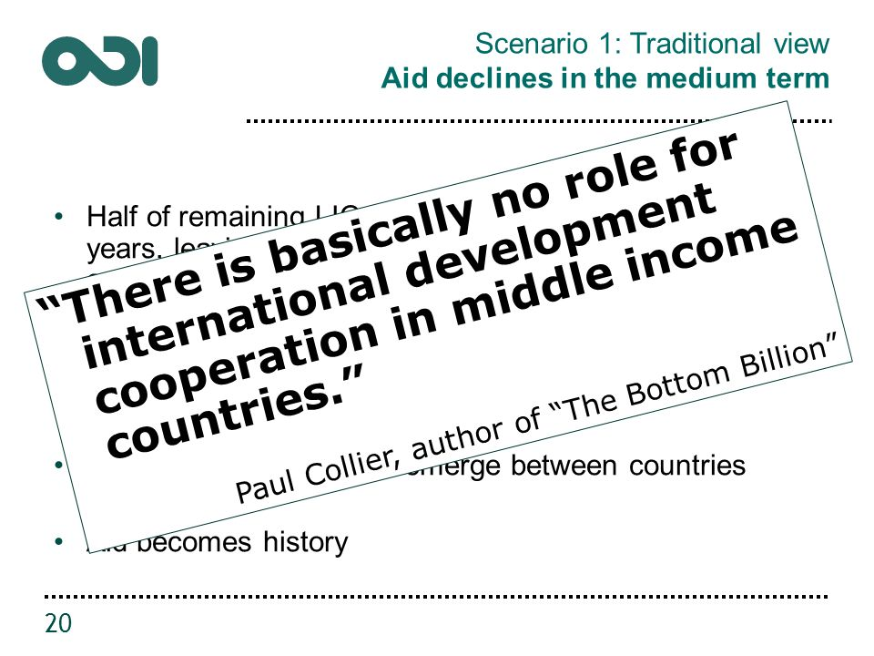 Scenario 1: Traditional view Aid declines in the medium term Half of remaining LICs likely to graduate in next ten years, leaving only fragile states (and making MIC category even less useful) MICs will graduate from grants towards loans and blended finance, private flows Normal trading relations emerge between countries Aid becomes history 20 There is basically no role for international development cooperation in middle income countries. Paul Collier, author of The Bottom Billion