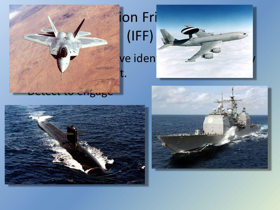 Identification Friend or Foe (IFF) A means for positive identification of friendly vessels and aircraft.