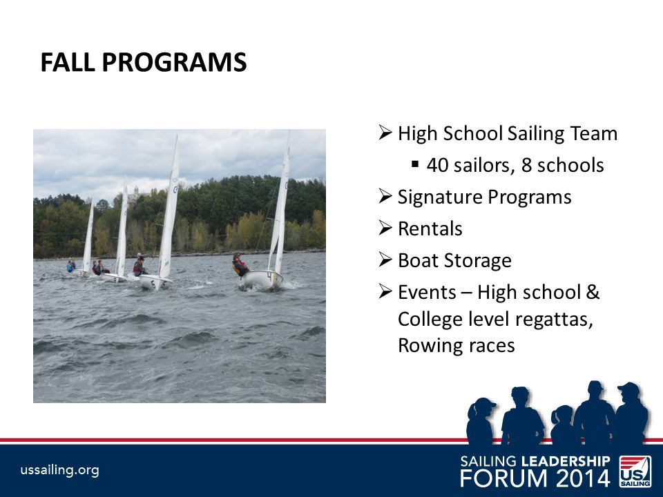 FALL PROGRAMS  High School Sailing Team  40 sailors, 8 schools  Signature Programs  Rentals  Boat Storage  Events – High school & College level regattas, Rowing races