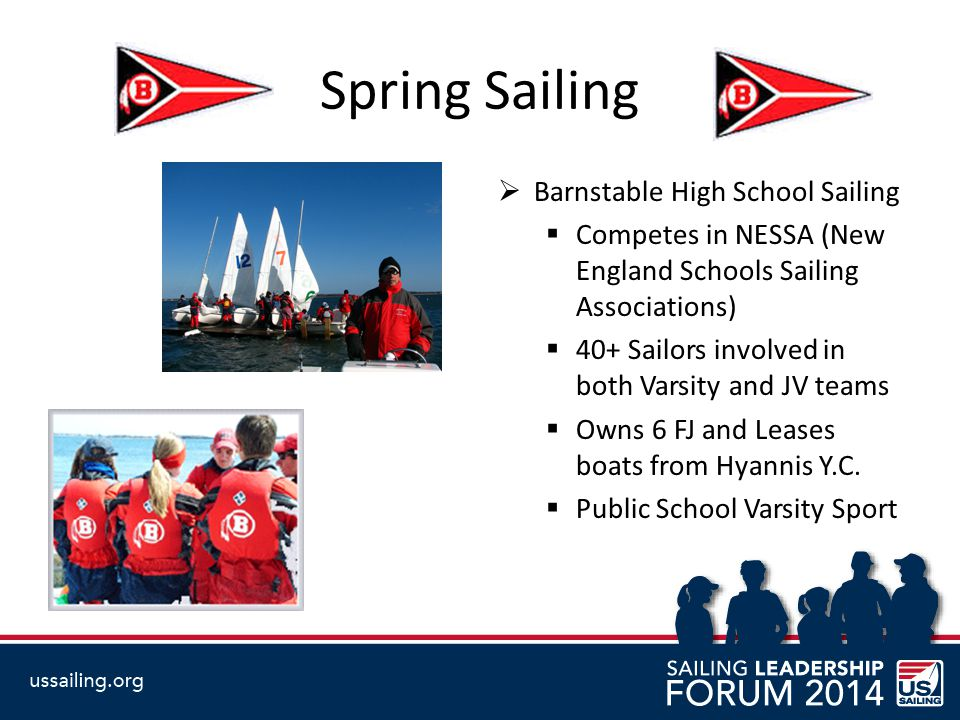 Spring Sailing  Barnstable High School Sailing  Competes in NESSA (New England Schools Sailing Associations)  40+ Sailors involved in both Varsity and JV teams  Owns 6 FJ and Leases boats from Hyannis Y.C.