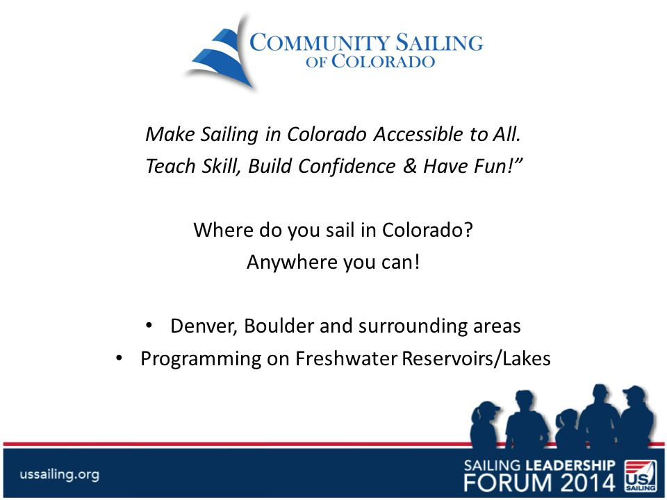 Make Sailing in Colorado Accessible to All.