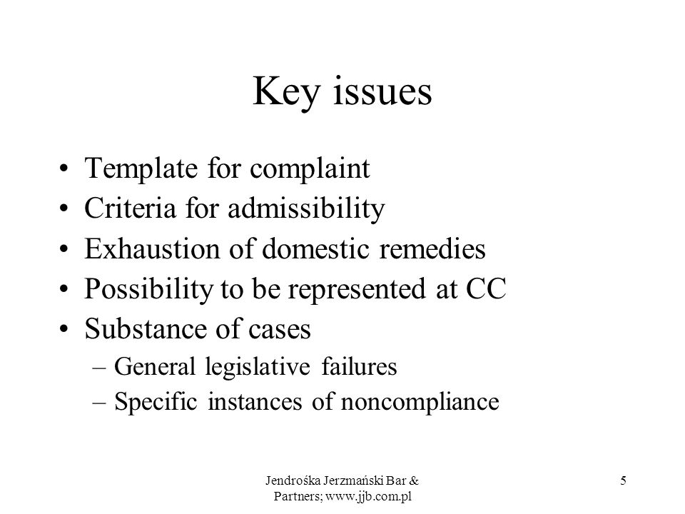 Legal effect Findings and recommendations of CC –Findings compliance or non-compliance –Recommendations steps to be taken Party concerned steps to be taken by MOP Adoption by MOP –conditional caution imposed on Ukraine Jendrośka Jerzmański Bar & Partners; www.jjb.com.pl 6