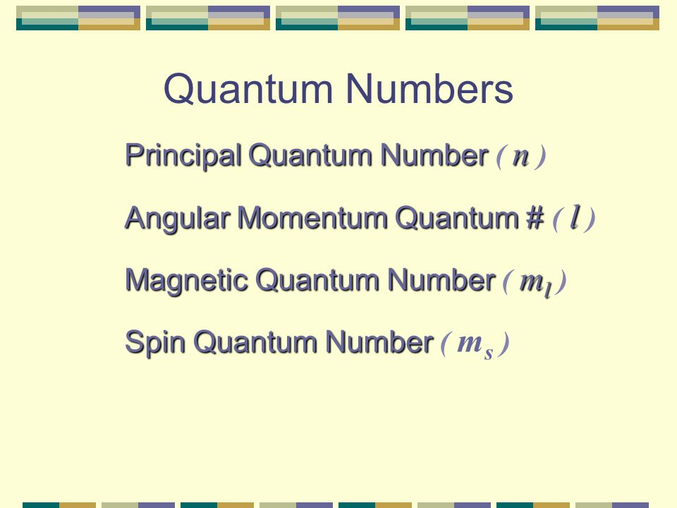 """Quantum Numbers UPPER LEVEL Four Quantum Numbers: Specify the """"address"""" of each electron in an atom Courtesy Christy Johannesson www.nisd.net/communic"""