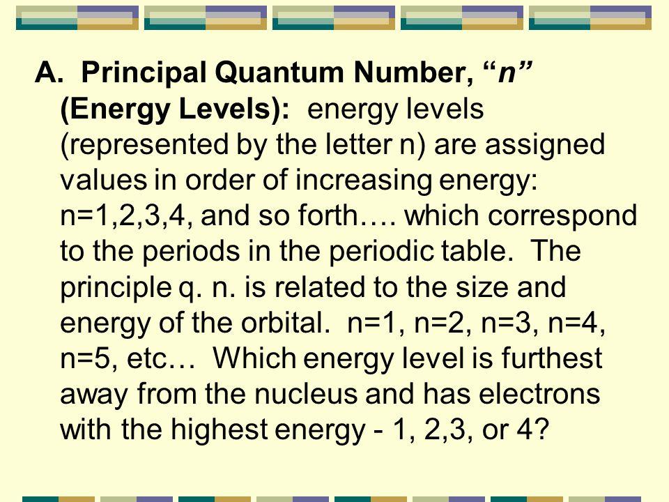 Quantum Numbers Principal Quantum Number n Principal Quantum Number ( n ) Angular Momentum Quantum # l Angular Momentum Quantum # ( l ) Magnetic Quant