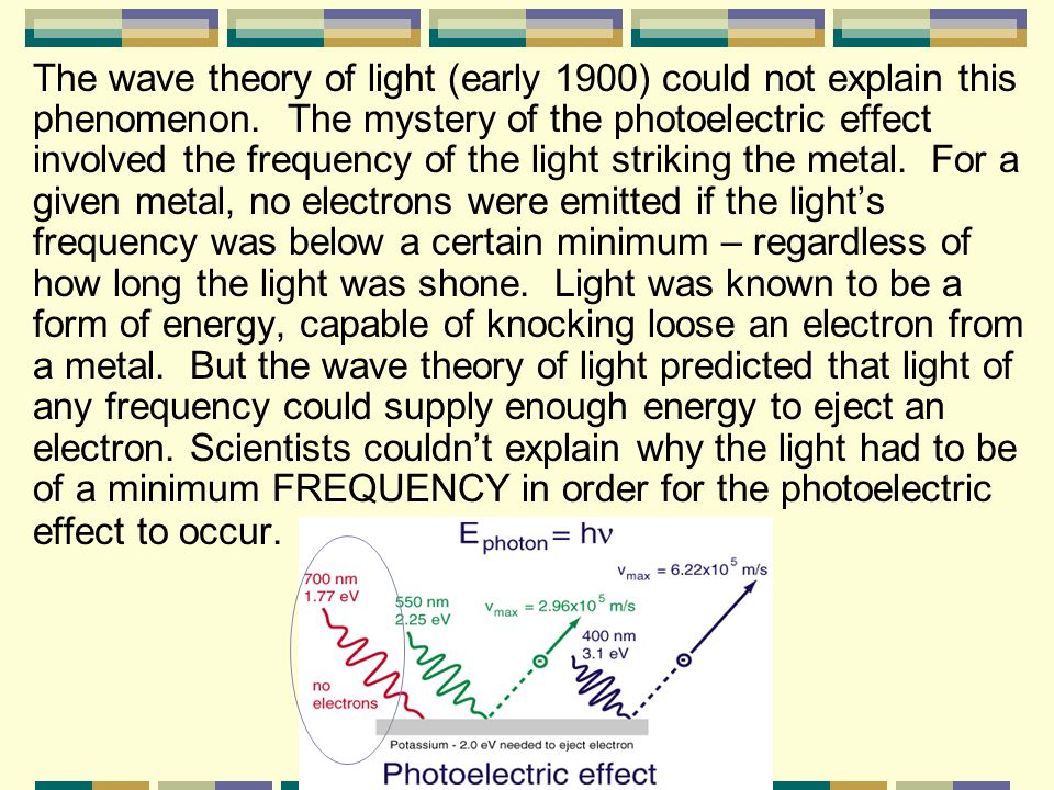 II. The Photoelectric Effect (pg 93) – refers to the emission of electrons from a metal when light shines on the metal.