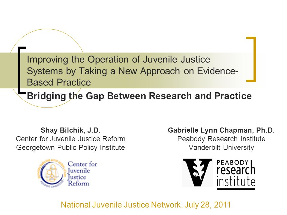 Improving the Operation of Juvenile Justice Systems by Taking a New Approach on Evidence- Based Practice Gabrielle Lynn Chapman, Ph.D.