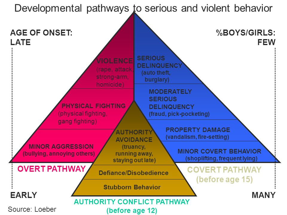 AUTHORITY CONFLICT PATHWAY (before age 12) OVERT PATHWAY COVERT PATHWAY (before age 15) AGE OF ONSET: LATE EARLY %BOYS/GIRLS: FEW MANY Stubborn Behavior Defiance/Disobedience AUTHORITY AVOIDANCE (truancy, running away, staying out late) MINOR AGGRESSION (bullying, annoying others) PHYSICAL FIGHTING (physical fighting, gang fighting) VIOLENCE (rape, attack, strong-arm, homicide) MINOR COVERT BEHAVIOR (shoplifting, frequent lying) PROPERTY DAMAGE (vandalism, fire-setting) MODERATELY SERIOUS DELINQUENCY (fraud, pick-pocketing) SERIOUS DELINQUENCY (auto theft, burglary) Developmental pathways to serious and violent behavior Source: Loeber