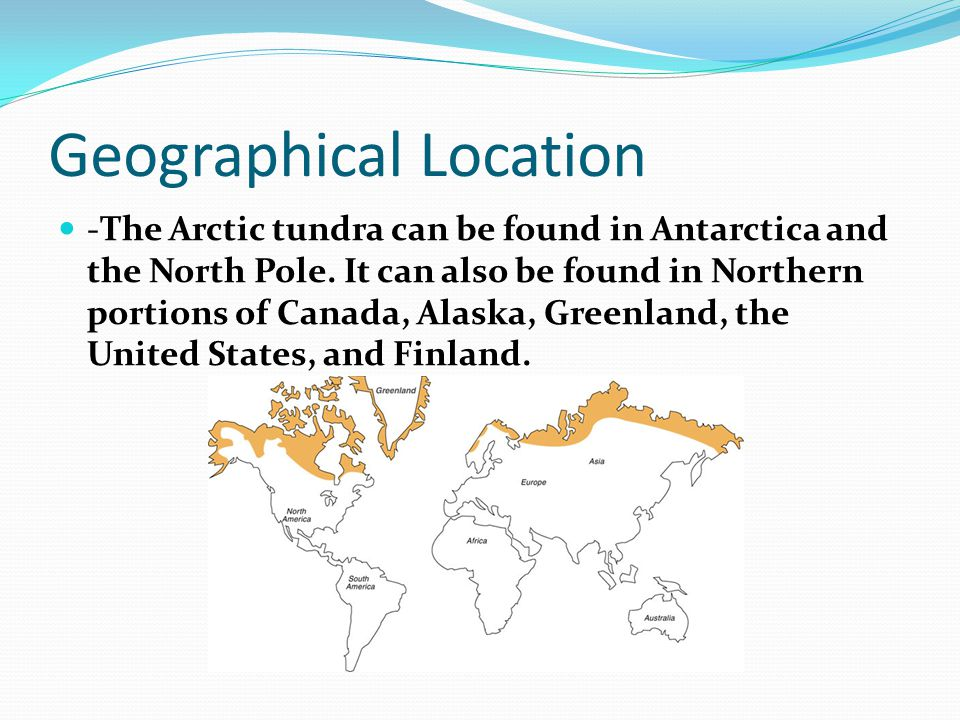 Geographical Location -The Arctic tundra can be found in Antarctica and the North Pole.