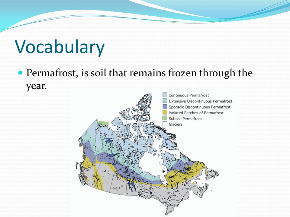 Vocabulary Permafrost, is soil that remains frozen through the year.