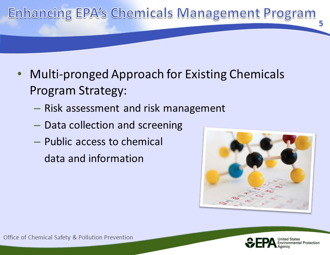 Multi-pronged Approach for Existing Chemicals Program Strategy: – Risk assessment and risk management – Data collection and screening – Public access