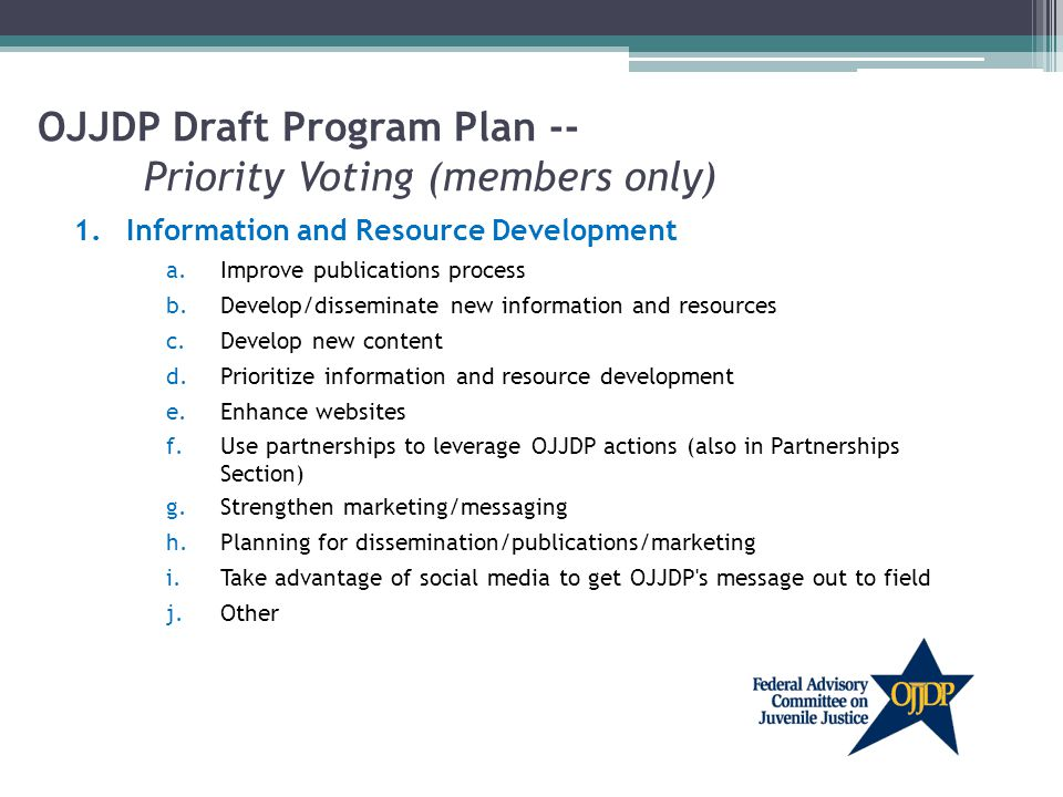 OJJDP Draft Program Plan -- Priority Voting (members only) 1.Information and Resource Development a.