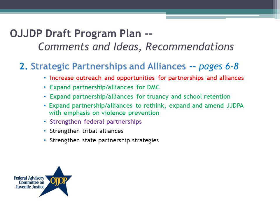 OJJDP Draft Program Plan -- Comments and Ideas, Recommendations 2.